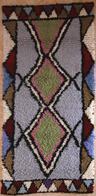 BOUCHEROUITE Boucherouite Mittlere Berber Teppich T30334