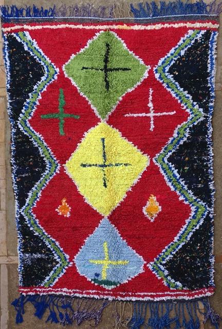 BOUCHEROUITE Boucherouite Mittlere Berber Teppich T32079