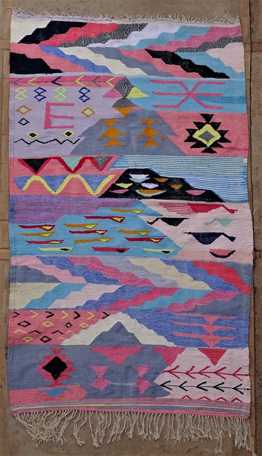 Archive-Sold Boucherouite moroccan rugs TKA35205 kilim