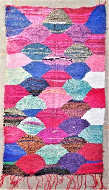 BOUCHEROUITE-KILIMS Boucherouite Medium moroccan rugs TKC37280 KILIM