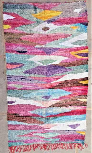 BOUCHEROUITE Boucherouite Large moroccan rugs LKC37283  kilim