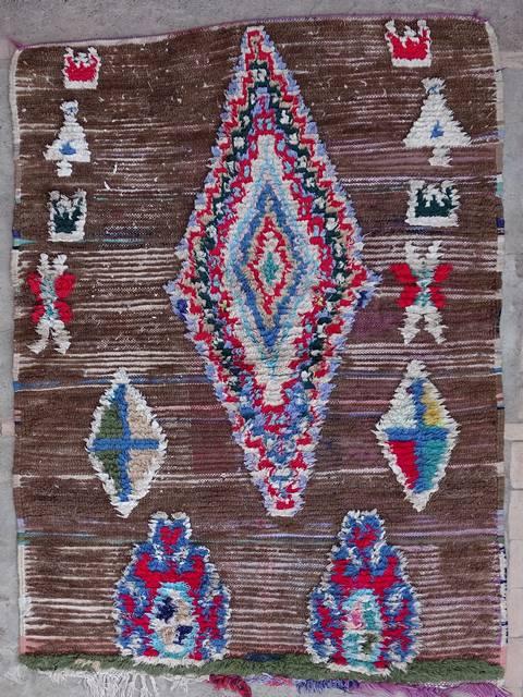 BOUCHEROUITE Boucherouite Mittlere Berber Teppich T39159