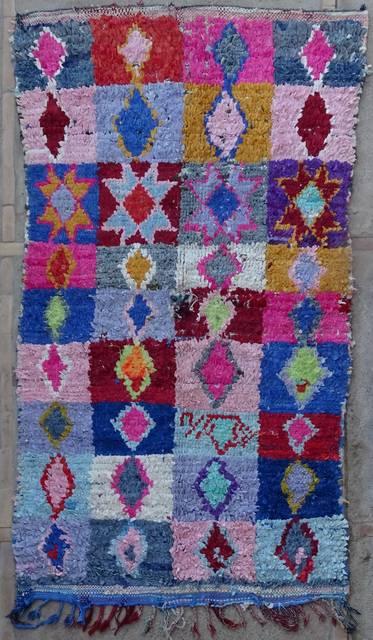 BOUCHEROUITE Boucherouite Mittlere Berber Teppich T42235