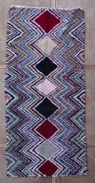 BOUCHEROUITE Boucherouite Mittlere Berber Teppich T43075