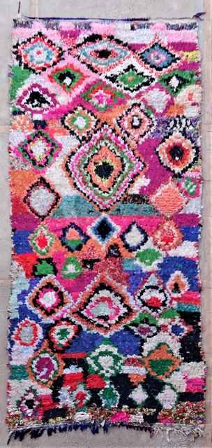 Archive-Sold Boucherouite moroccan rugs L37213 vendu IBON ESPAGNE expédié par Sarah