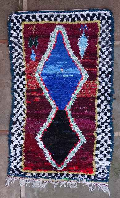 BOUCHEROUITE Boucherouite Mittlere Berber Teppich T43113
