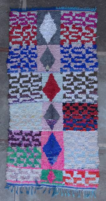 BOUCHEROUITE Boucherouite Mittlere Berber Teppich T46046