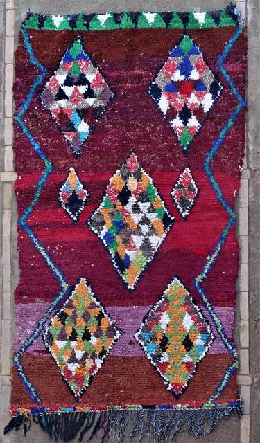 BOUCHEROUITE Boucherouite Mittlere Berber Teppich T46251