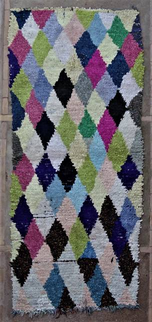 BOUCHEROUITE-KILIMS Runner Boucherouite moroccan rugs C46309