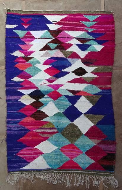 BOUCHEROUITE Boucherouite Medium moroccan rugs TKC47003  kilim