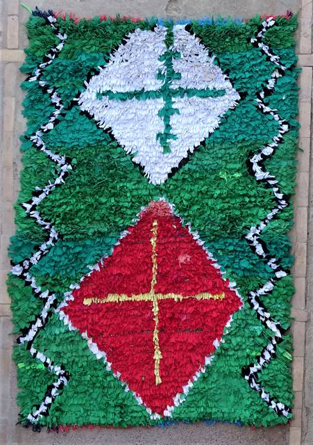 BOUCHEROUITE Boucherouite Mittlere Berber Teppich T47015