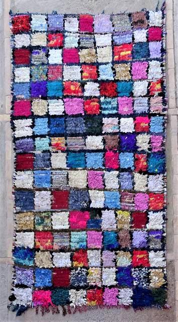 BOUCHEROUITE Boucherouite Mittlere Berber Teppich T47031
