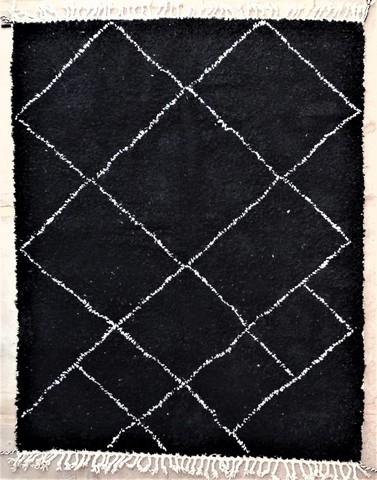 WOLLTEPPICHE - BENI OURAIN Schwarze teppiche Teppich BO48551