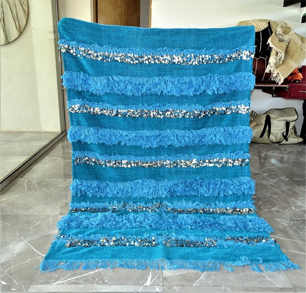 AZILAL-ZANAFI Wedding blankets moroccan rugs Wedding blanket BLUE WBL1