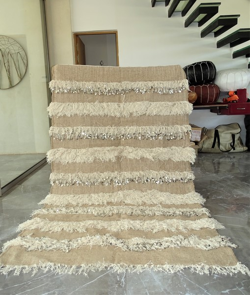 AZILAL-ZANAFI Wedding blankets moroccan rugs Wedding blanket light BEIGE  WBE2