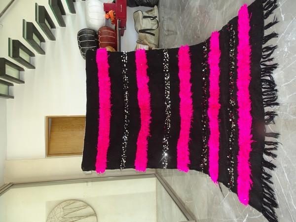 AZILAL-ZANAFI Wedding blankets moroccan rugs Wedding blanket BLACK and PINK WRO1