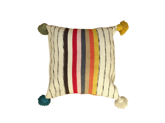 Cushions-Blankets Plaids-Bedspreads-Poufs Cotton cushions and pompons moroccan rugs Cushion with pompoms REF P1
