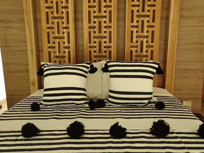 Cushions-Blankets Plaids-Bedspreads-Poufs Cotton cushions and pompons moroccan rugs Pair of cushions with pompons  REF PL1