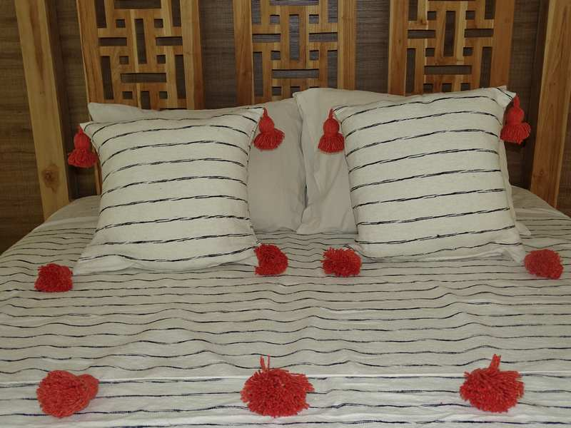 Cushions-Blankets Plaids-Bedspreads-Poufs Cotton cushions and pompons moroccan rugs Pair of cushions with pompons  REF PN1