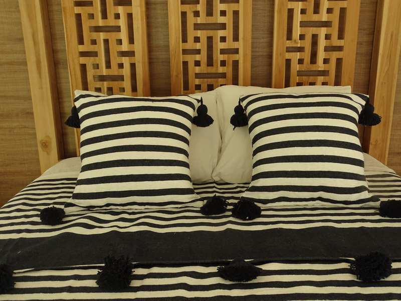 Cushions-Blankets Plaids-Bedspreads-Poufs Cotton cushions and pompons moroccan rugs Pair of cushions with pompons  REF PO1