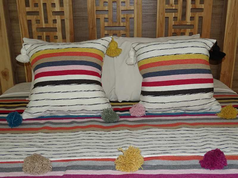 Cushions-Blankets Plaids-Bedspreads-Poufs Cotton cushions and pompons moroccan rugs Pair of cushions with pompons  REF PP1
