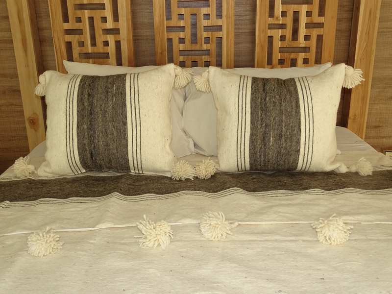 Cushions-Blankets Plaids-Bedspreads-Poufs Cotton cushions and pompons moroccan rugs Pair of wool cushions with pompons  REF PS1