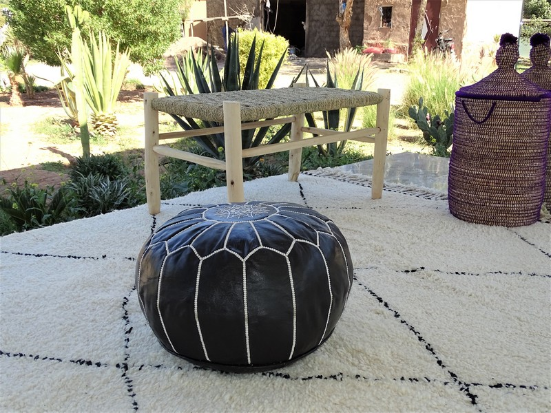 Cushions-Blankets Plaids-Bedspreads-Poufs Leather poufs moroccan rugs POUF CUIR NOIR PCB