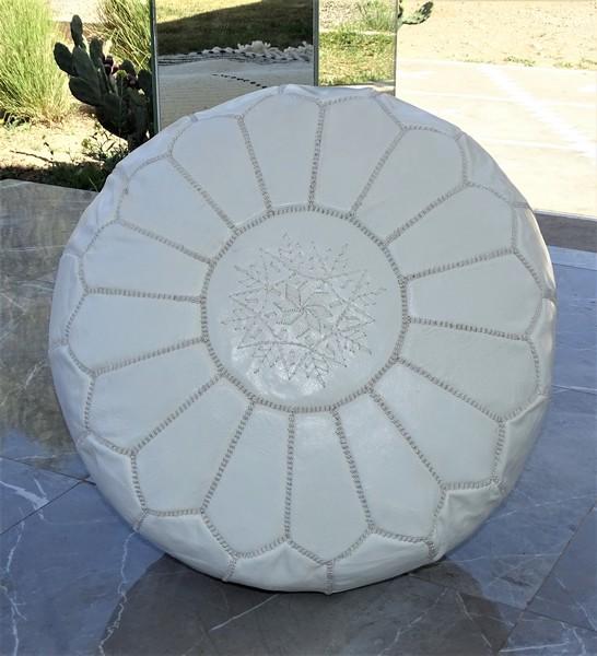 Cushions-Blankets Plaids-Bedspreads-Poufs Leather poufs moroccan rugs POUF CUIR BLANC REF PCBL