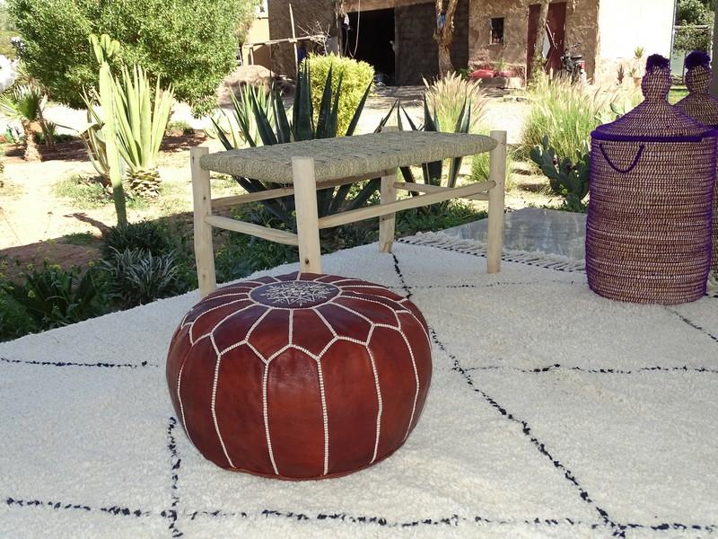 Cushions-Blankets Plaids-Bedspreads-Poufs Leather poufs moroccan rugs POUF CUIR BRUN PCBR