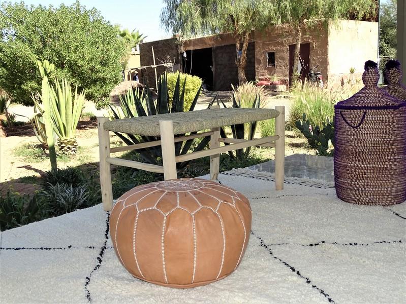 Cushions-Blankets Plaids-Bedspreads-Poufs Leather poufs moroccan rugs POUF CUIR NATUREL PCN