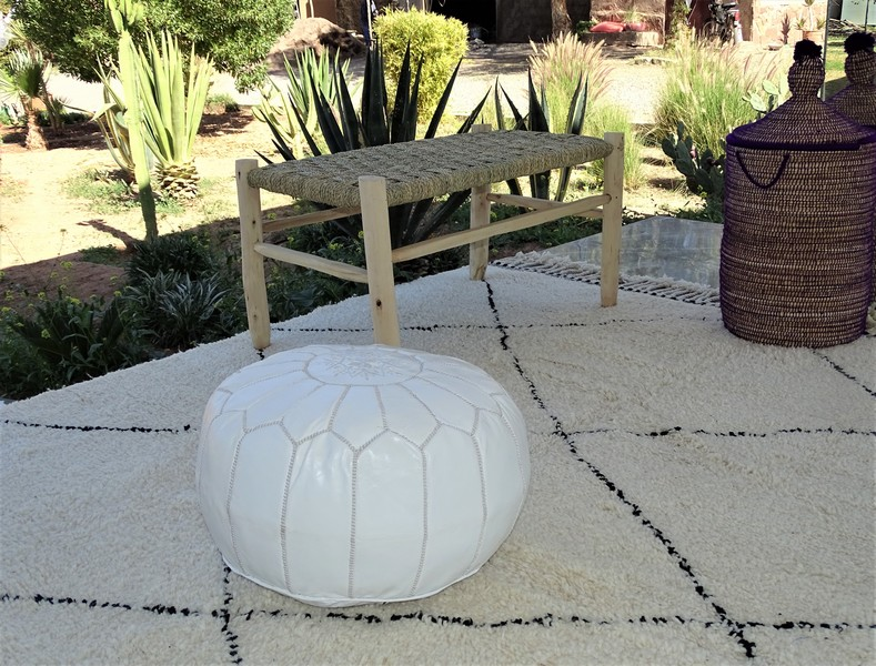 Cushions-Blankets Plaids-Bedspreads-Poufs Leather poufs moroccan rugs POUF CUIR BLANC PCBL