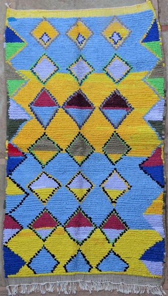 BOUCHEROUITE-KILIMS Boucherouite Mittlere Berber Teppich TN52067