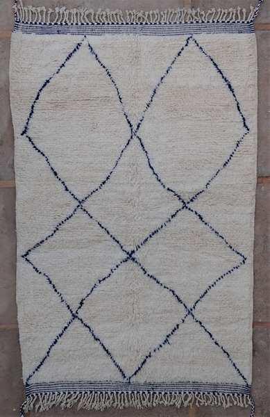 Berber living room rug #BO53007 pattern in blue wool type Beni Ourain