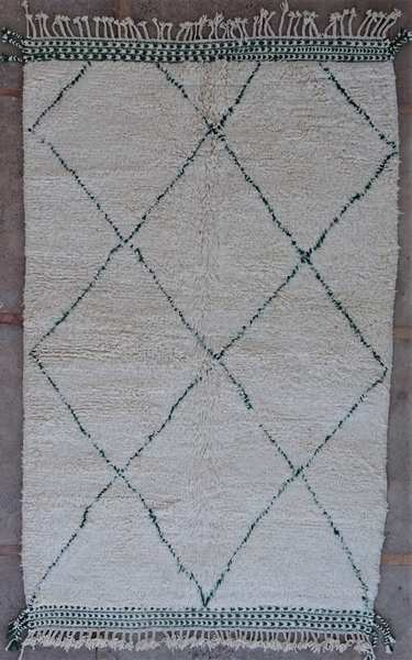 Berber rug BO53017 pattern in green wool