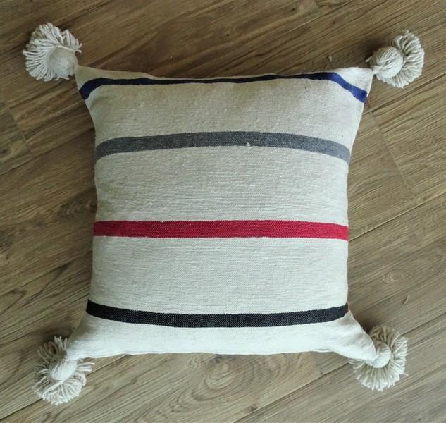 Kissen-Decken-Bettdecken-Poufs Baumwoll-kissen mit pompons Teppich Cushion  with pompons  REF ZC 1