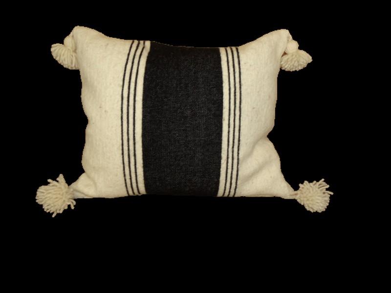 Kissen-Decken-Bettdecken-Poufs Baumwoll-kissen mit pompons Teppich Cushion wool with pompons  REF TC 2