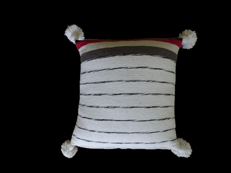 Kissen-Decken-Bettdecken-Poufs Baumwoll-kissen mit pompons Teppich Cushion with pompons  REF UC 3