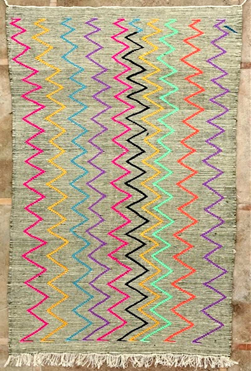 Kilim Zanafi ZA52151 wool weft in cotton